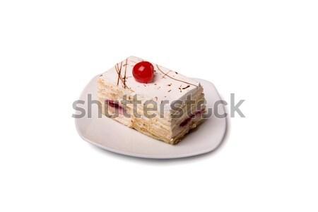 Cremoso torta cereza blanco placa aislado Foto stock © Elisanth