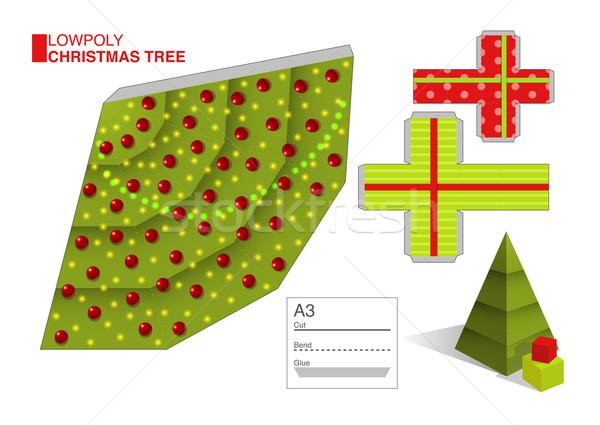 вектора шаблон рождественская елка коробки Cut Сток-фото © Elisanth