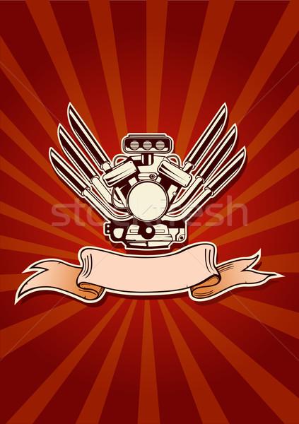 Vektor függőleges motor erő tapéta piros Stock fotó © Elisanth