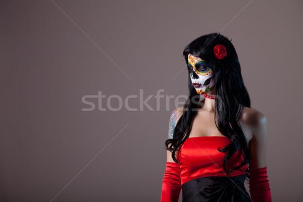 Portret suiker schedel meisje dag dode Stockfoto © Elisanth