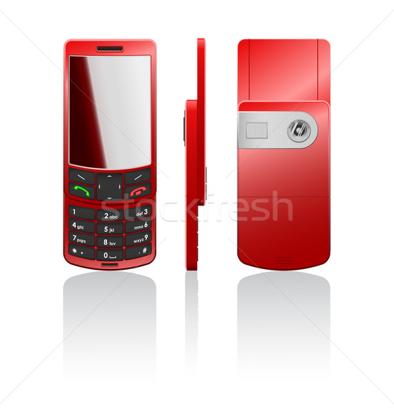 Vector photorealistic red cellphone Stock photo © Elisanth