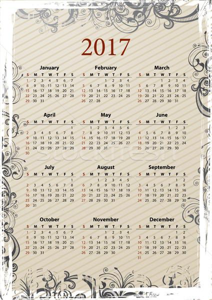 American Vector grungy calendar 2017 Stock photo © Elisanth