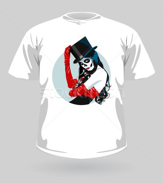 Vector illustration of t-shirt with Sugar Skull girl  Stock photo © Elisanth