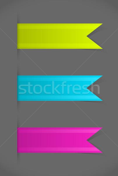 Vektor szett színes könyvjelzők szürke háttér Stock fotó © Elisanth