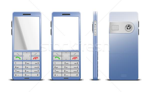 Vektor illusztráció kék sejt mobiltelefon szín Stock fotó © Elisanth