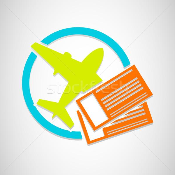Vektor repülőgép jegyek ikon utazás vakáció Stock fotó © Elisanth