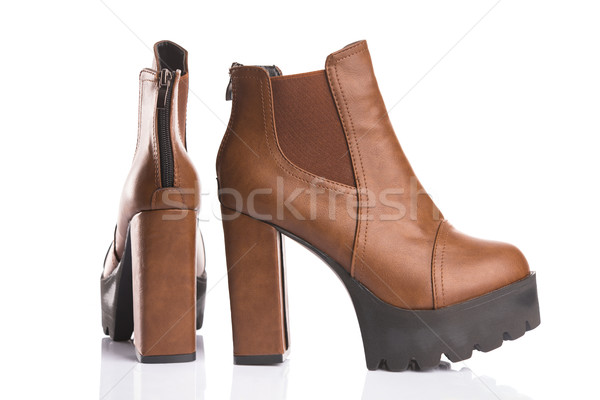 Brown autumn boots with chunky heels  Stock photo © Elisanth