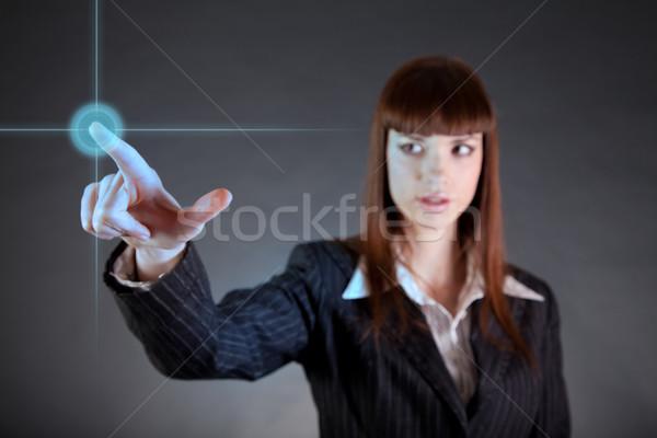 üzletasszony mutat szenzor képernyő csúcstechnológia lány Stock fotó © Elisanth