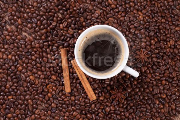 Kávéscsésze fahéj ánizs kávé textúra háttér Stock fotó © Elisanth