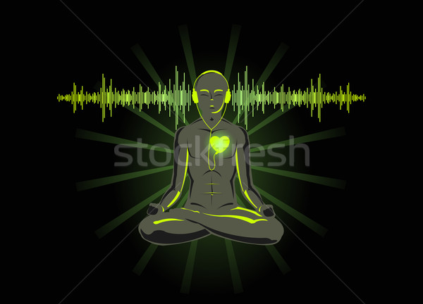 Vector illustration of yoga listening his heart Stock photo © Elisanth
