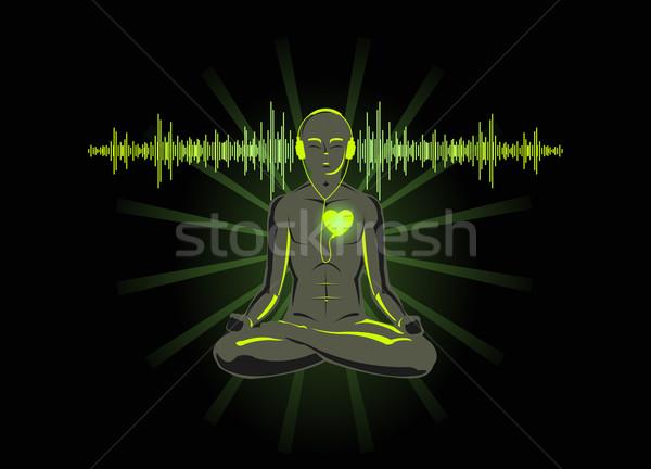 Jóga hallgat szív izolált fekete férfi Stock fotó © Elisanth