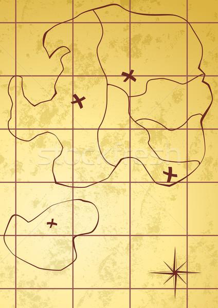 Vector map of treasure island  Stock photo © Elisanth
