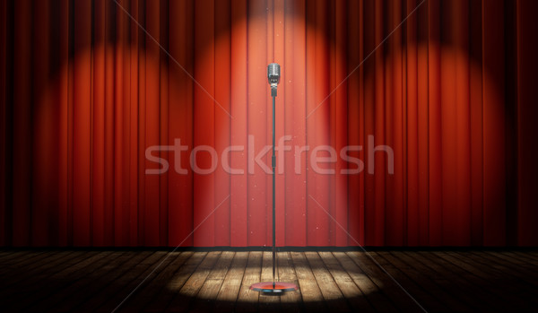 3d stage with red curtain and vintage microphone in spot light  Stock photo © Elisanth