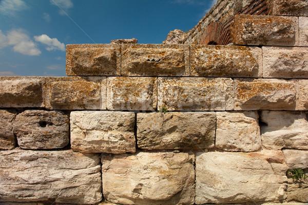 древних каменной стеной Blue Sky небе строительство Сток-фото © Elisanth
