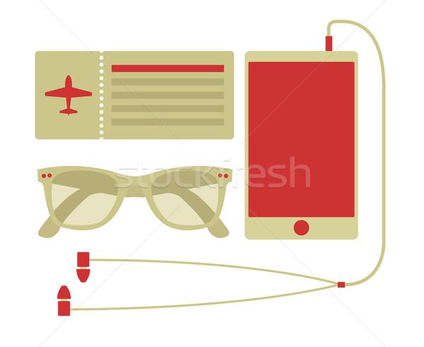 Vector zomer reizen ingesteld vliegtuig Stockfoto © Elisanth