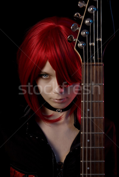 Sexy vampire girl with guitar  Stock photo © Elisanth