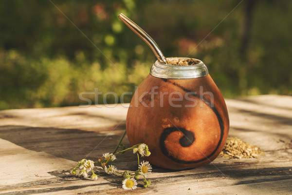 Traditional Argentinean yerba mate drink in Calabash with Bombil Stock photo © Elisanth