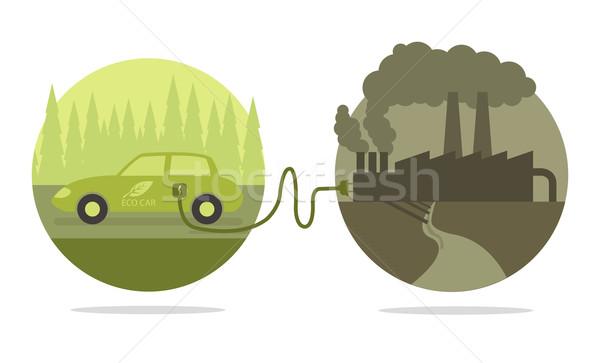 Vektör eco araba Bina soyut yeşil Stok fotoğraf © Elisanth