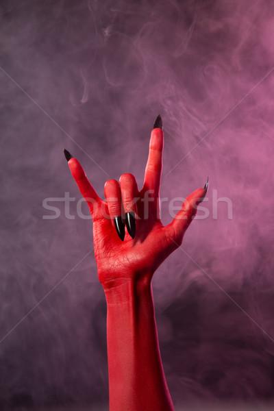 重金属 赤 悪魔 手 黒 爪 ストックフォト © Elisanth