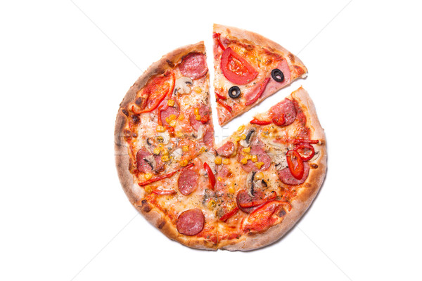 Stock photo: Tasty pizza with pepperoni and mushrooms with a slice removed
