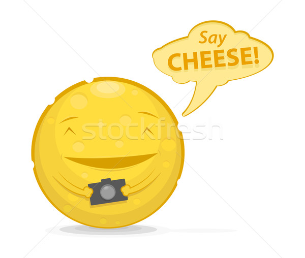 Vector illustration of funny cheese with photo camera  Stock photo © Elisanth