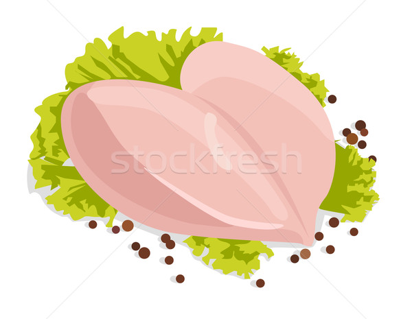 Vector raw chicken breasts with black peppercorns  Stock photo © Elisanth