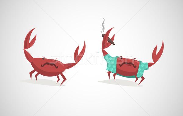 Dos funny Cartoon diseno verano humo Foto stock © Elisanth
