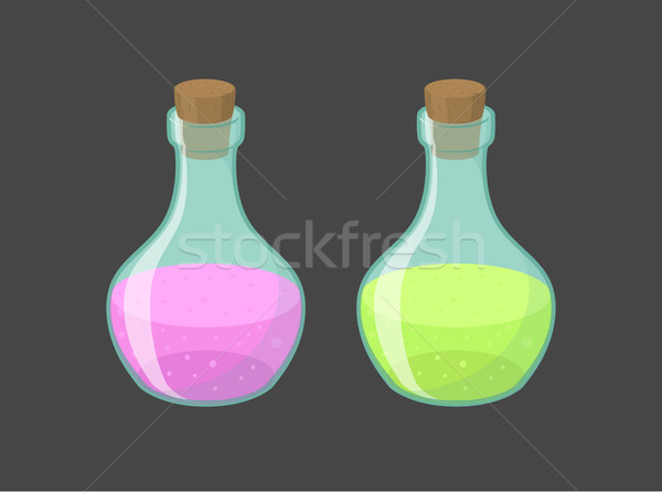 Vector magic vials with pink and green liquid  Stock photo © Elisanth