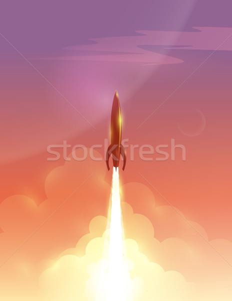 Сток-фото: ретро · ракета · красивой · небе · eps10 · облака