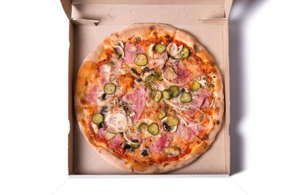 Top view gustoso italiana pizza prosciutto Foto d'archivio © Elisanth