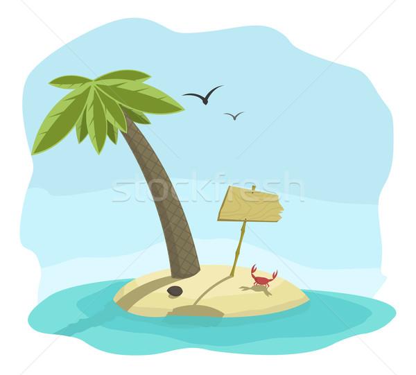 Тропический остров Palm краба воды дерево природы Сток-фото © Elisanth