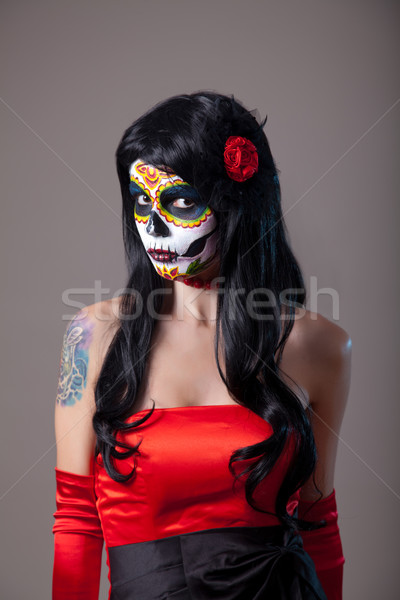 Meisje suiker schedel make dag dode Stockfoto © Elisanth