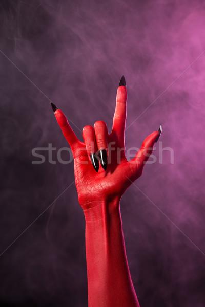 Rock teken Rood duivel hand zwarte Stockfoto © Elisanth