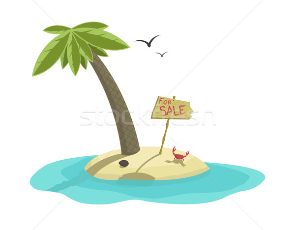 Vector illustration of tropical island for sale   Stock photo © Elisanth