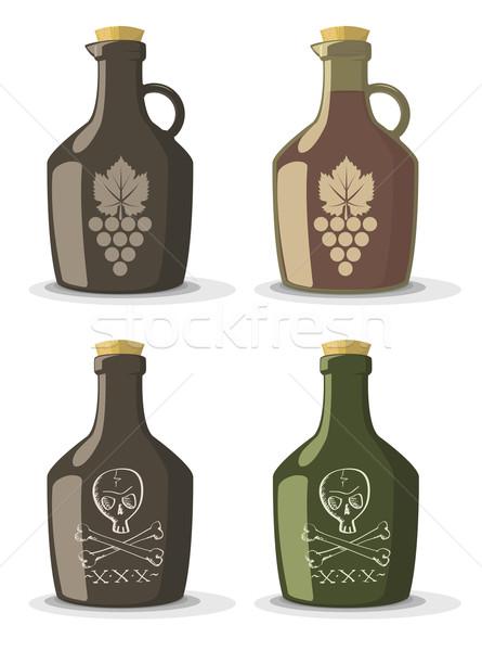 ベクトル セット ボトル ワイン ラム酒 ヴィンテージ ストックフォト © Elisanth