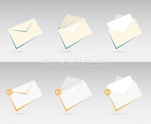 вектора набор письма оранжевый синий дизайна Сток-фото © Elisanth