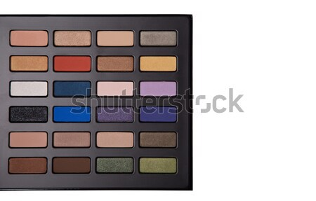 Top view of eyeshadow palette with makeup brush  Stock photo © Elisanth