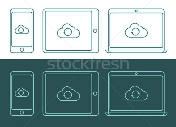 Stock photo: Vector illustration of linear style cloud computing icons