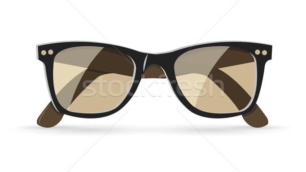 Klasik güneş gözlüğü kahverengi yalıtılmış beyaz eps10 Stok fotoğraf © Elisanth