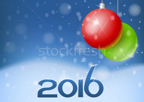 вектора Новый год карт 2016 праздник украшения Сток-фото © Elisanth