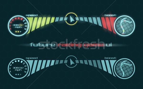 Vektor interfész versenyzés játék műszerfal futurisztikus Stock fotó © Elisanth