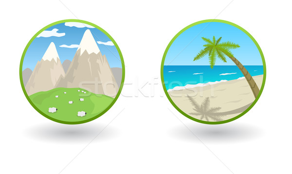 Vector travel icons with sea and mountains  Stock photo © Elisanth