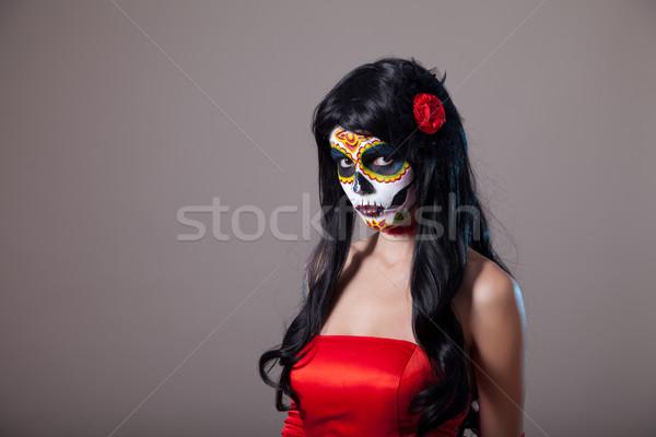 ストックフォト: 砂糖 · 頭蓋骨 · 少女 · 赤いドレス · 女性