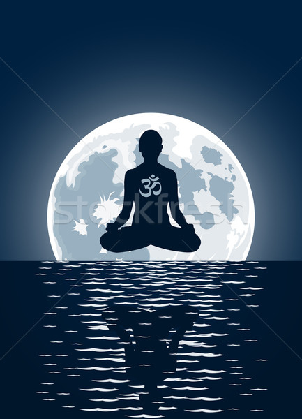 Vector yoga over moon background   Stock photo © Elisanth