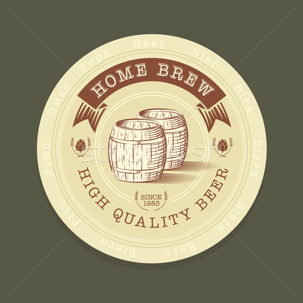 Stock photo: Vector beer tag in engraved style