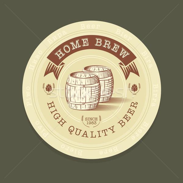 Vector bier tag gegraveerd stijl advertentie Stockfoto © Elisanth