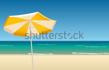 оранжевый зонтик красивой пляж воды Сток-фото © Elisanth