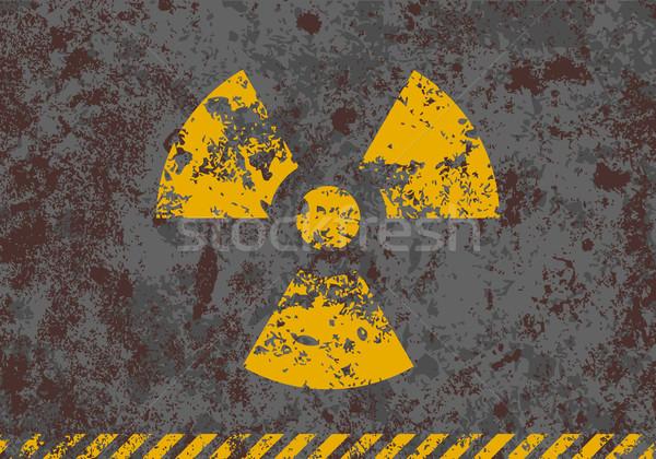 Wektora grunge ilustracja promieniowanie podpisania Zdjęcia stock © Elisanth