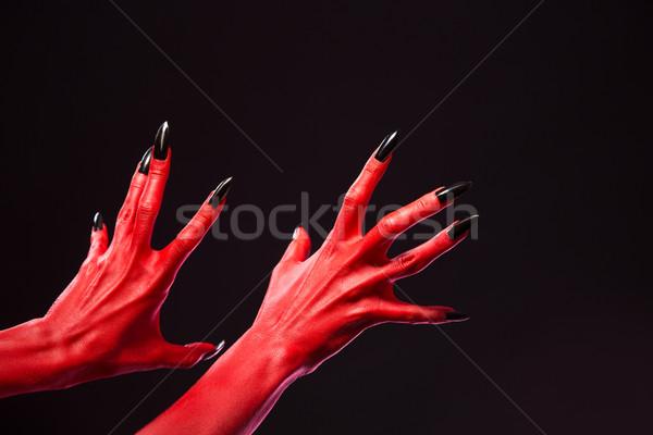 Stockfoto: Rood · duivel · handen · zwarte · nagels