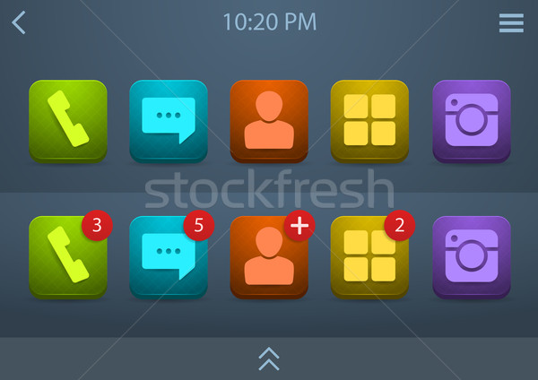 Vecteur icônes téléphone portable ui lumineuses Photo stock © Elisanth